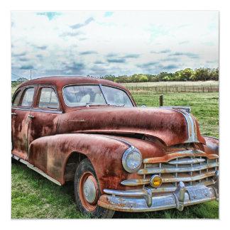 "Rusty Old Classic Car Vintage Automobile 5.25"" Square Invitation Card"