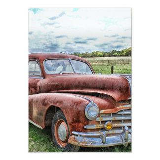 "Rusty Old Classic Car Vintage Automobile 5"" X 7"" Invitation Card"