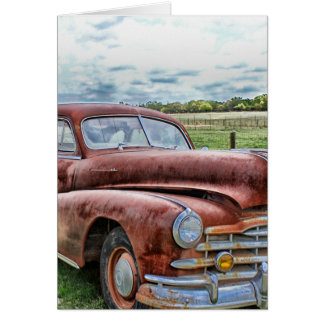 Rusty Old Classic Car Vintage Automobile Card