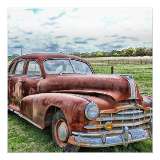 Rusty Old Classic Car Vintage Automobile Personalized Invites