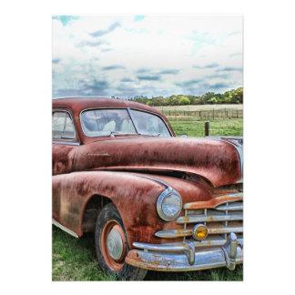 Rusty Old Classic Car Vintage Automobile Custom Invites