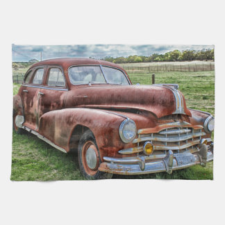 Rusty Old Classic Car Vintage Automobile Kitchen Towel
