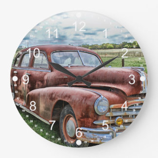 Rusty Old Classic Car Vintage Automobile Wallclocks