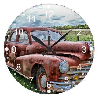 Rusty Old Classic Car Vintage Automobile Wallclocks