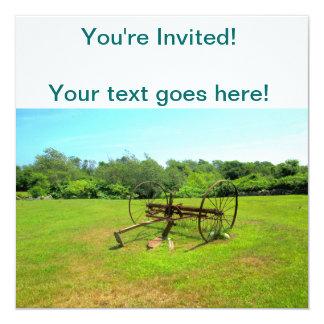 """Rusty Old Farm Equipment 5.25"""" Square Invitation Card"""