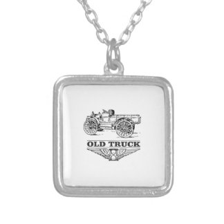 rusty old truck silver plated necklace