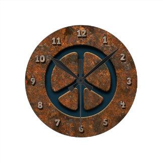 Rusty Peace Sign Clocks