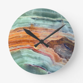 Rusty Sagey Minty Quartz Round Clock