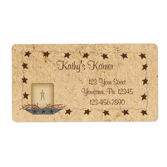 Rusty Stars and Candle Label Shipping Label