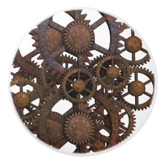 Rusty Steampunk Metal Gears Ceramic Knob