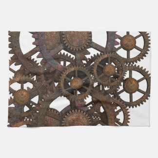 Rusty Steampunk Metal Gears Kitchen Towel