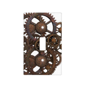 Rusty Steampunk Metal Gears Light Switch Cover