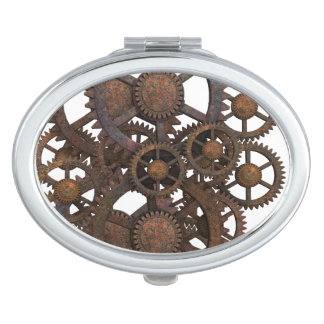 Rusty Steampunk Metal Gears Mirror For Makeup