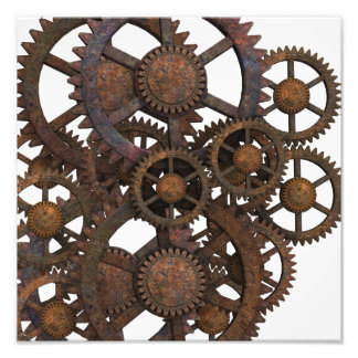 Rusty Steampunk Metal Gears Photo Print