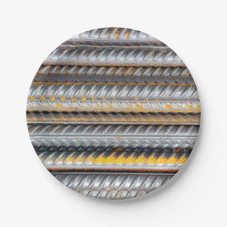 Rusty Steel Bars Pattern 7 Inch Paper Plate