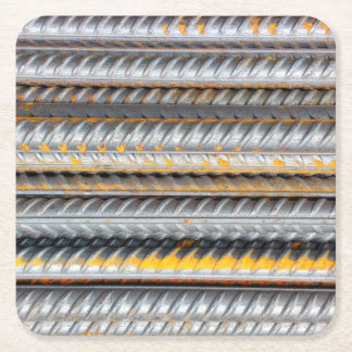 Rusty Steel Bars Pattern Square Paper Coaster
