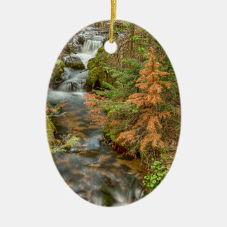 Rusty The Pine Tree and The Flowing Stream Ceramic Oval Ornament