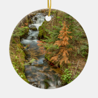Rusty The Pine Tree and The Flowing Stream Round Ceramic Ornament