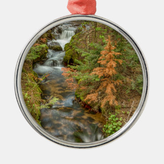 Rusty The Pine Tree and The Flowing Stream Silver-Colored Round Ornament