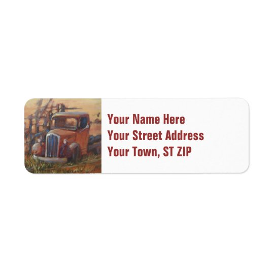 Rusty Truck Return Address Label