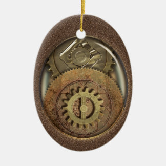 Rusty Vintage Cogs Steampunk Personalized Ceramic Ornament