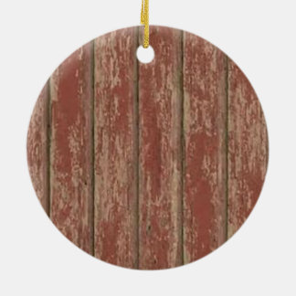 Rusty Weathered Board Round Ceramic Ornament