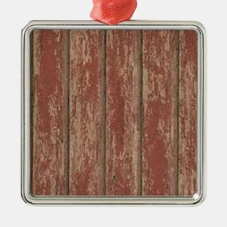 Rusty Weathered Board Silver-Colored Square Ornament