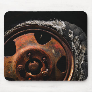 Rusty Wheel Torn Tire Macro Photograph Mouse Pad