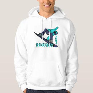 Rusutsu Japan teal theme mens snowboarder hoodie