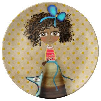 Ruth Fitta Schulz - Africa Art Doll Blue Polka Dot Plate