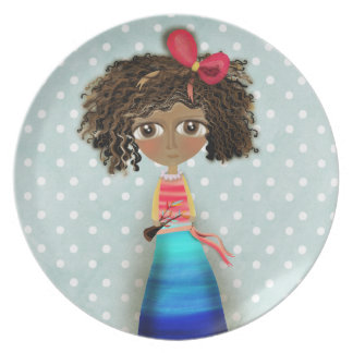 Ruth Fitta Schulz - Africa Art Doll Blue PolkaDots Plate
