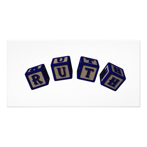 Ruth toy blocks in blue photo cards