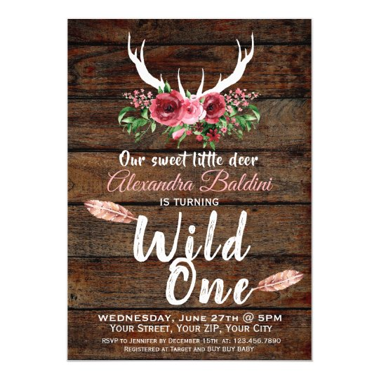 Rutic Deer Birthday Invitation