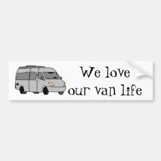 """RV and Camping """"We love our van life"""" Bumper Sticker"""