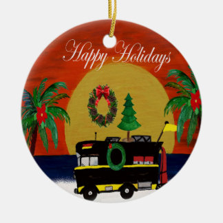 RV camper Christmas ornament from my art