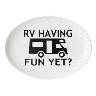 RV Having Fun Yet Funny Wordplay Porcelain Serving Platter