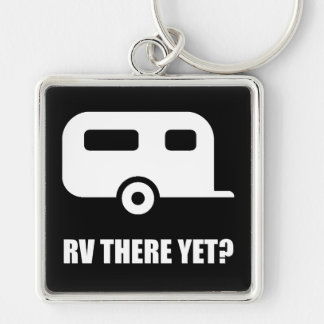 RV There Yet Silver-Colored Square Keychain