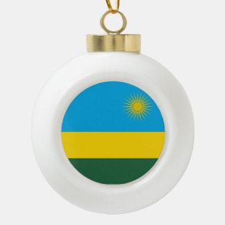 Rwanda Flag Ceramic Ball Christmas Ornament