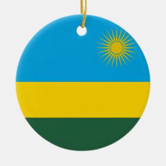 Rwanda Flag Ceramic Ornament