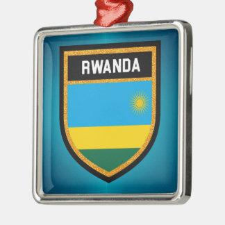 Rwanda Flag Metal Ornament