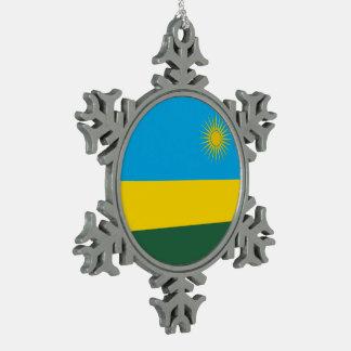 Rwanda Flag Snowflake Pewter Christmas Ornament