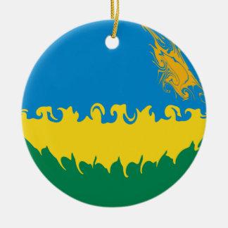 Rwanda Gnarly Flag Double-Sided Ceramic Round Christmas Ornament
