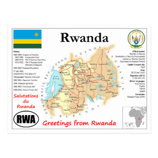 Rwanda map Postcard