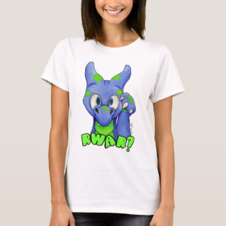 RWAR? (Blue) Cute baby dragon roaring T-Shirt