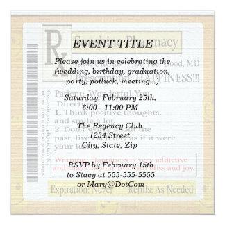 RX Funny Happiness Prescription 5.25x5.25 Square Paper Invitation Card