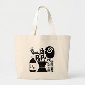 RxP LOGO  Prescription Psychologist Large Tote Bag