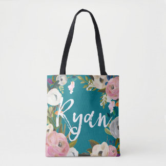 Ryan Brushed Floral Wedding Party  Custom Name Tote Bag