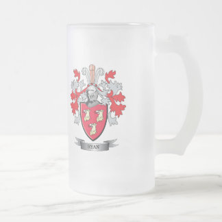 Ryan Coat of Arms Frosted Glass Beer Mug