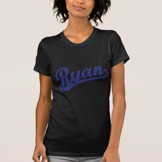 Ryan Distressed Blue Script Logo T-Shirt