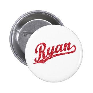 Ryan Distressed Red Script Logo 2 Inch Round Button